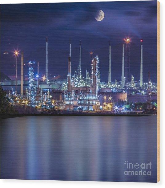 Refinery Industrial Plant  Wood Print