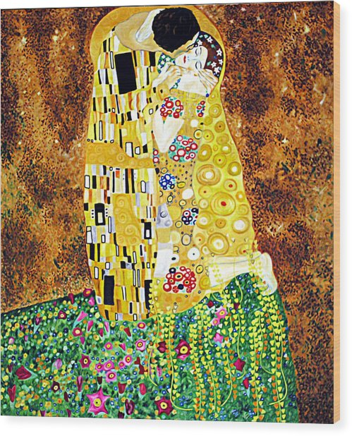 Reproduction Of - The Kiss By Gustav Klimt Wood Print