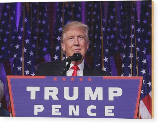 Republican Presidential Nominee Donald Trump Holds Election Night Event In New York City Wood Print by Chip Somodevilla