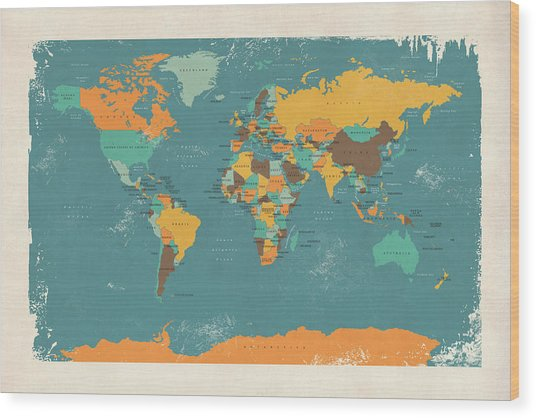 Retro Political Map Of The World Wood Print