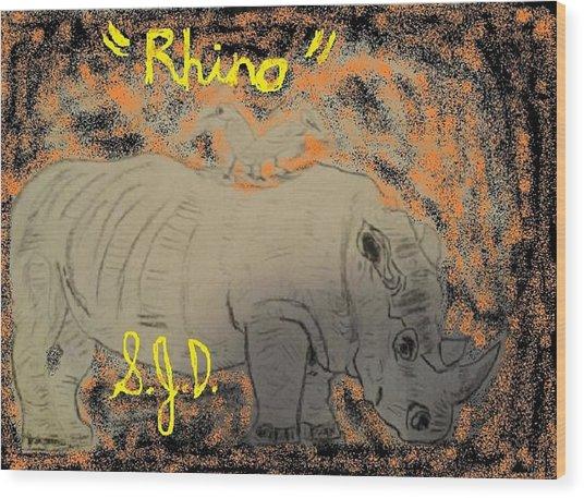 Rhino Wood Print by Joe Dillon