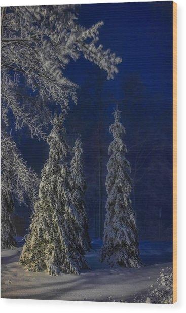Rib Mountain State Park Snow Wood Print
