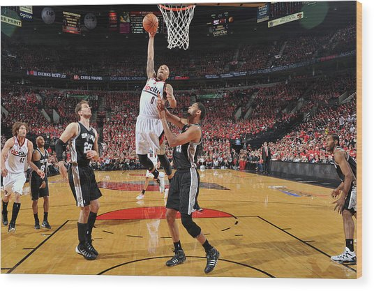 San Antonio Spurs V Portland Trail Wood Print by Garrett Ellwood