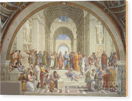School Of Athens Wood Print