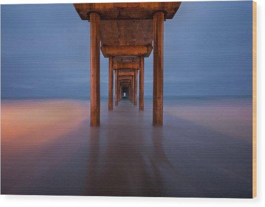 Scripps Pier Dusk Wood Print