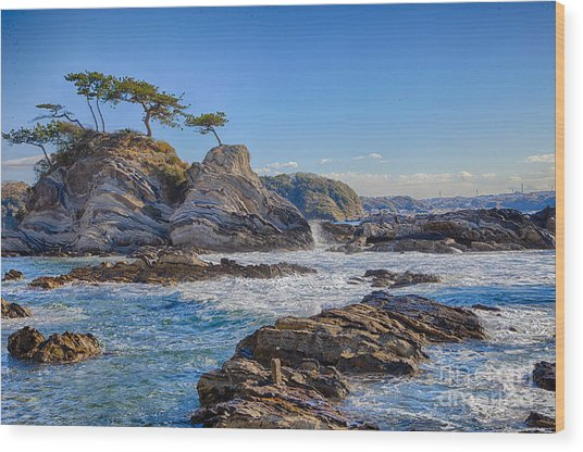 Sea Side Wood Print by Tad Kanazaki