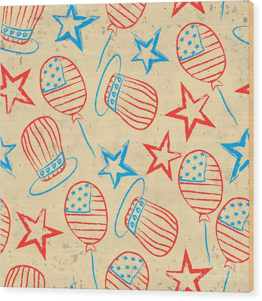 Seamless Pattern For 4th Of July Wood Print by Allies Interactive
