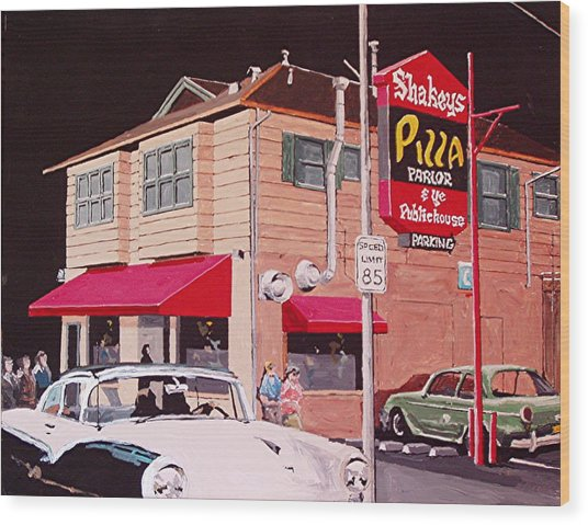 Shakey's Pizza Wood Print by Paul Guyer