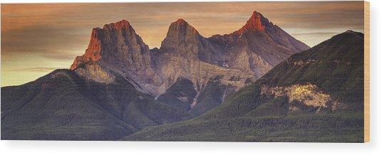 3 Sisters Canmore Alberta Wood Print