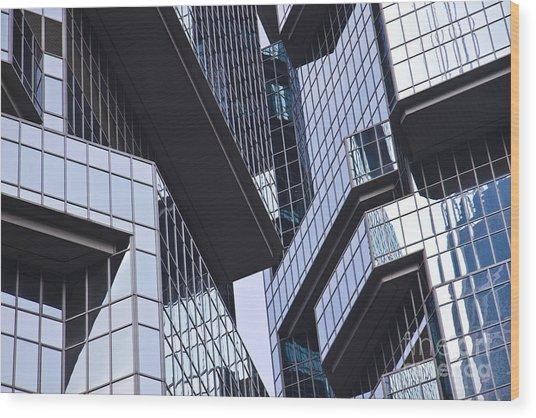 Skyscraper Windows Background Wood Print by IB Photography