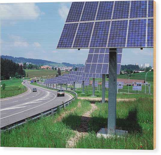 Solar Panels Wood Print by Martin Bond/science Photo Library
