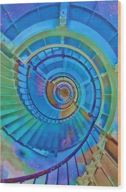Stairway To Lighthouse Heaven Wood Print
