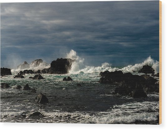 Stormy Seas And Skies  Wood Print