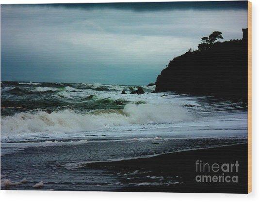 Stormy Seas At Night Wood Print