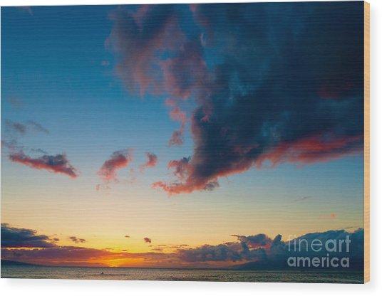 Sunset On Kaanapali Maui Hawaii Usa Wood Print