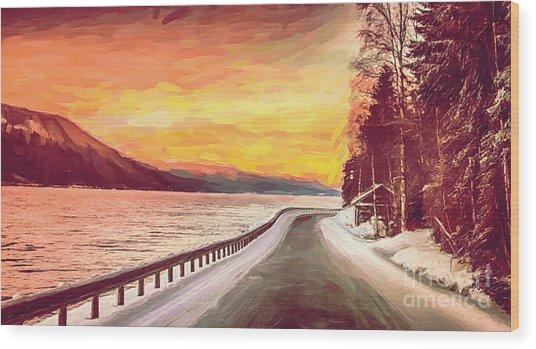 Sunset Wood Print by Sylvia  Niklasson