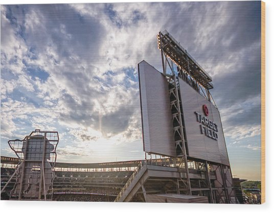 Target Field Sunset Wood Print