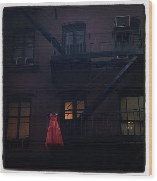 The Red Gown Wood Print