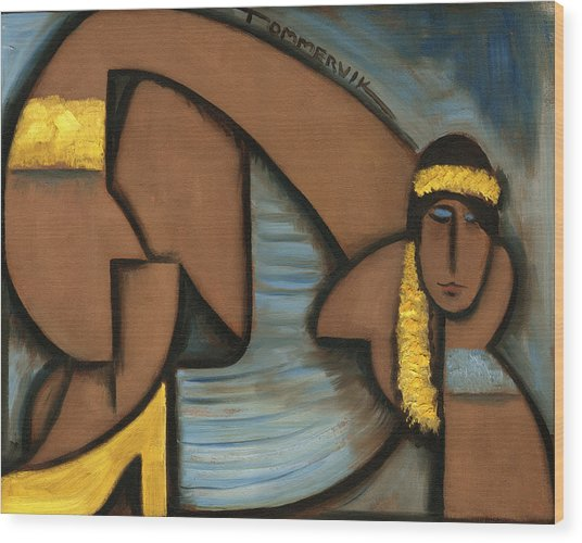 Cubist Hawaii Hula Girl Art Print Wood Print