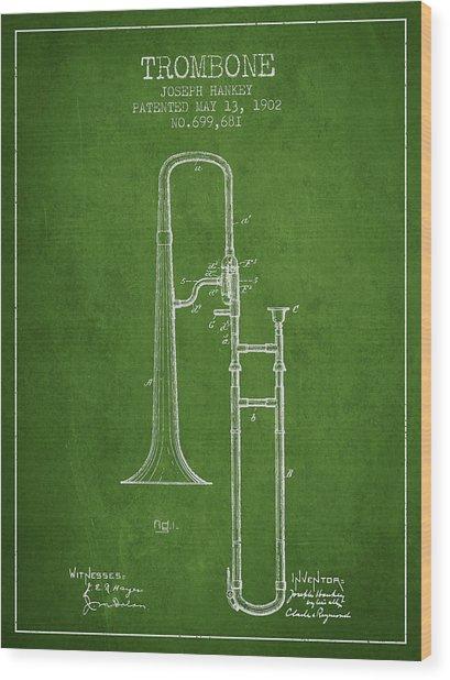 Trombone Patent From 1902 - Green Wood Print