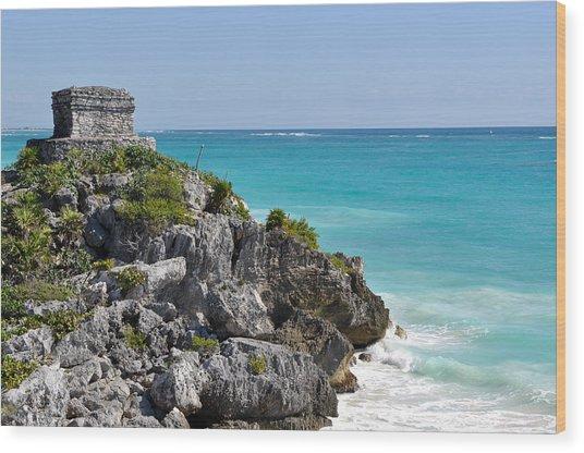 Tulum Mexico Coastal Mayan Ruin Wood Print