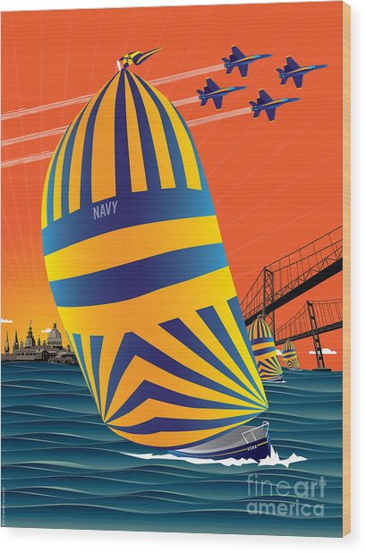 Usna Sunset Sail Wood Print