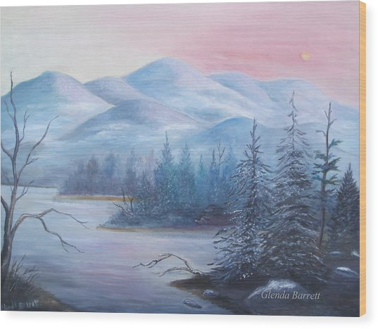Winter In The Mountains Wood Print by Glenda Barrett