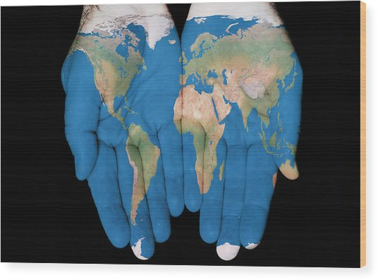 World In Our Hands Wood Print