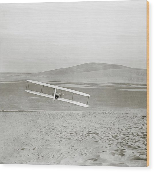 Wright Brothers Kitty Hawk Glider Wood Print by Library Of Congress