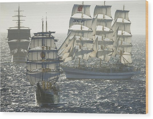 3 X Tall Ships Wood Print by Gilles Martin-Raget