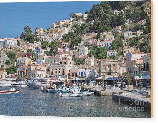 Yialos Harbour Symi Wood Print