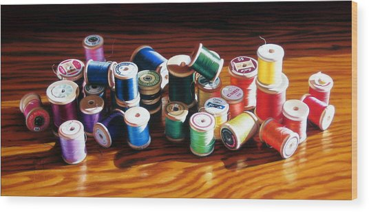 30 Wooden Spools Wood Print by Dianna Ponting