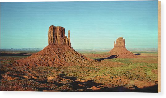 Rock Formations On A Landscape Wood Print