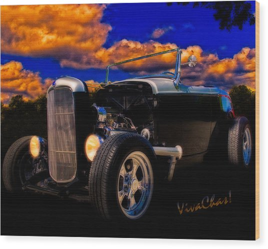32 Ford Roadster In Silver An Black Wood Print