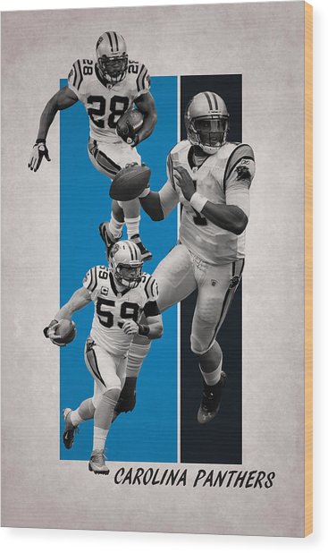 Carolina Panthers Team Flag 2 Wood Print