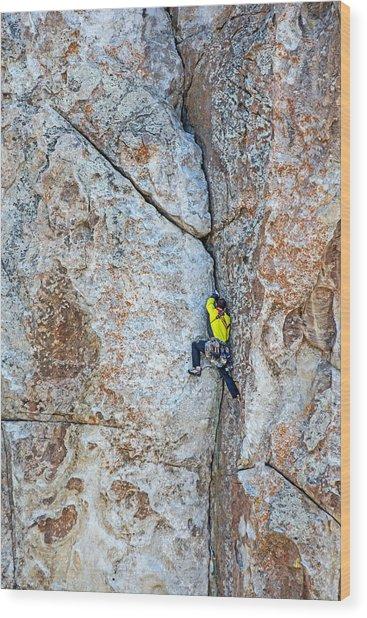 Rock Climber Wood Print by Elijah Weber