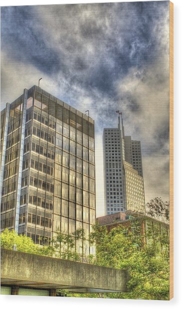 345 California Center Two Flags Wood Print