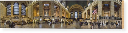 360 Panorama Of Grand Central Terminal Wood Print