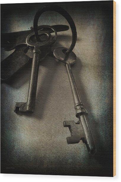Vintage Keys Vignette Wood Print