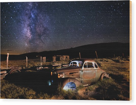 '37 Chevy And Milky Way Wood Print