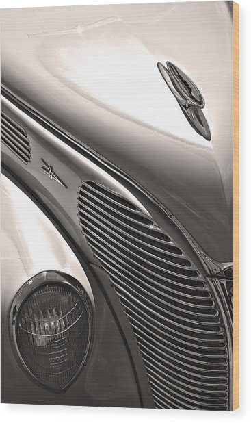 38 Ford Deluxe Sepia Wood Print