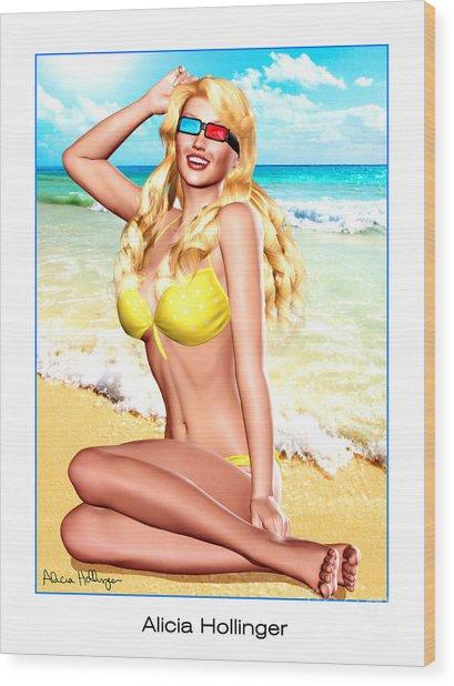3d Girl In The Yellow Polka-dot Bikini Wood Print