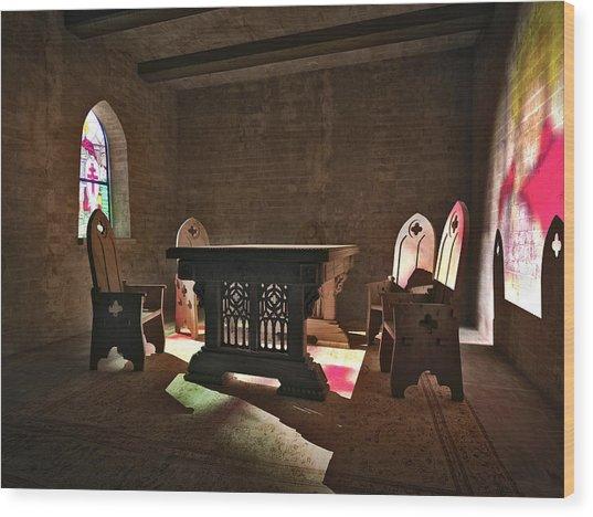3d Gothic Room Wood Print
