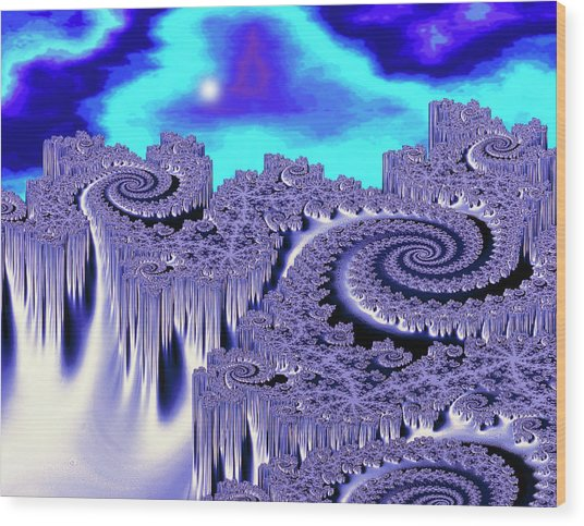 3d Julia Fractal Landscape: Plutonia Wood Print by Gregory Sams/science Photo Library