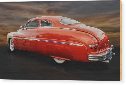 1950 Mercury Sedan With Flames Wood Print