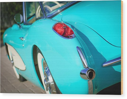 Wood Print featuring the photograph 1957 Chevrolet Corvette Taillight by Jill Reger