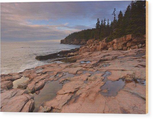 Acadia Sunrise Wood Print by Stephen  Vecchiotti