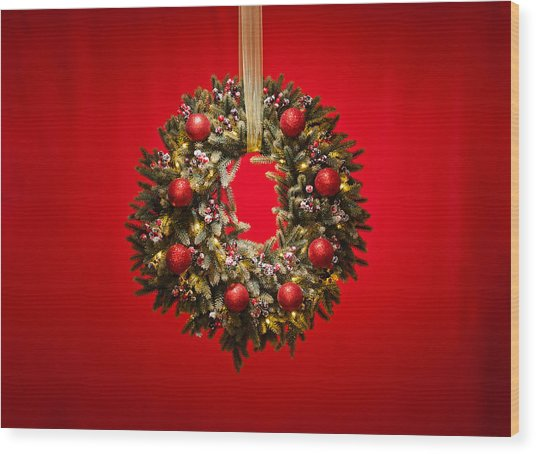 Advent Wreath Over Red Background Wood Print