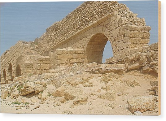 Caesarea Israel Ancient Roman Remains Wood Print by Robert Birkenes