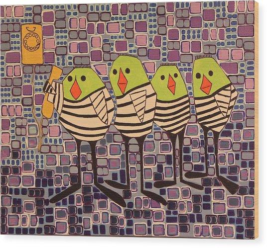 4 Calling Birds Wood Print